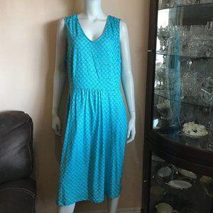 Boden Turquoise White Print Sheath Dress Stretch